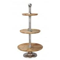 tafel etagère hout met 3 lagen bruin hoog 101 cm