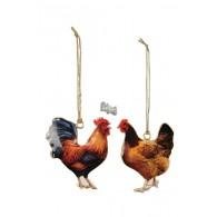 hanger haan en kip metaal 2 assortiment kleur