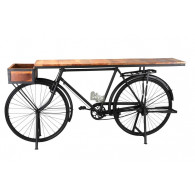 fiets/tafel hout en metaal 193x48xH92cm