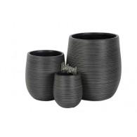 bloembak magnesium donker grijs rond set (2) van 3 stuks