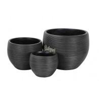 bloembak magnesium donker grijs rond set van 3 stuks
