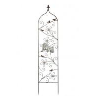 plantgeleider bloem en vogel donker bruin metaal vlak hoog 156.5 cm