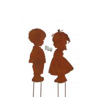 steker jongen meisje 2 assortiment design hoog 35 cm roest kleur op=op