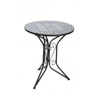 tafel blauw/wit mozaïek D60xH71cm (leverbaar vanaf week 23)