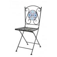 stoel blauw/wit mozaïek 39x50xH89cm (leverbaar vanaf week 23)