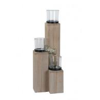 windlicht glas op houten zuil set van 3 stuks grijs geveegd (vanaf week 25 leverbaar)