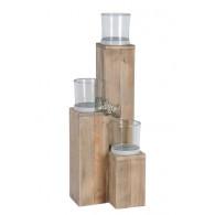 windlicht glas op houten zuil set van 3 stuks grijs (vanaf week 25 leverbaar)