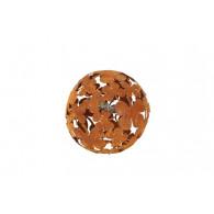 decoratie kogel bloem metaal rond 24 cm roest