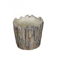 schaal cement hout optiek bruin diameter 20 cm