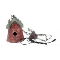 hang lamp vogelhuis met ketting rood groen