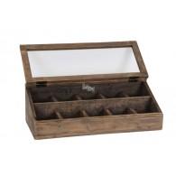 kist met deksel met glas bruin hout 63 cm breed