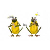 kikker geel groen hoog 16.5/19.5 cm 2 assortiment design