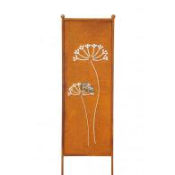 (week 13) tuin verdeel/decoratie scherm metaal roest met schermbloem 32xH116cm