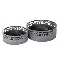 beplantings-ring metaal grijs set van 2 stuks