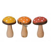 paddestoel hout hoog 15.5 cm 3 assortiment kleur op=op