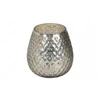 windlicht glas diameter 17 cm glanzend zilver