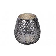 windlicht glas diameter 17 cm grijs