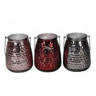 windlicht glas met beugel diameter 15 cm 3 assortiment kleur
