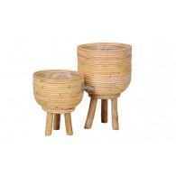 mand op poten rotan naturel set van 2 stuks rond 23/26 cm