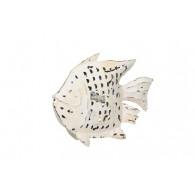 windlicht metaal vis breed 34 cm wit