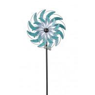 windmolen dubbel metaal rond 34.5 cm turquoise