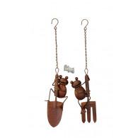 hanger kikker op tuingereedschap 2 assortiment design roest kleur