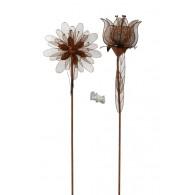 steker bloem en tulp 2 assortiment design metaal roest kleur