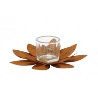 windlicht metalen bloem met  glas diameter 28 cm roest
