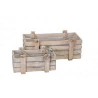 kist hout set van 2 stuks met touw crème bruin