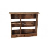wand kast met 1 plank en haken hoog 61 cm bruin hout