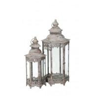 lantaarn metaal grijs set van 2 stuks hoog 53 / 70cm