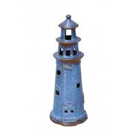 vuurtoren blauw keramiek hoog 32 cm