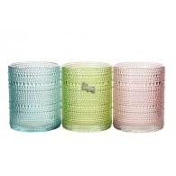 windlicht glas diameter 10 cm 3 assortiment kleur