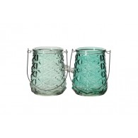 windlicht glas diameter 14 cm 2 assortiment kleur