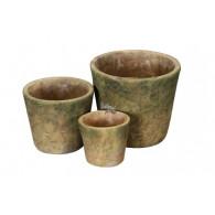 bloempot bruin groen set van 3 stuks