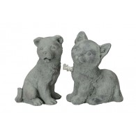 kat en hond cement hoog 16.5 cm