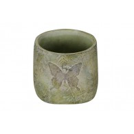 bloempot cement vlinder licht groen hoog 15 cm