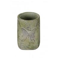 vaas cement vlinder licht groen hoog 19 cm