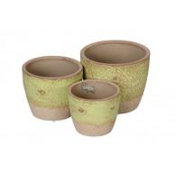 bloempot keramiek crème groen set van 3 stuks