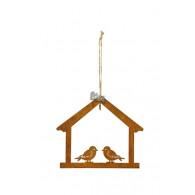 mezenbol hanger huis en 2 vogels metaal roest