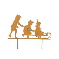 steker kinderen op slee roestkleur breed 40 cm