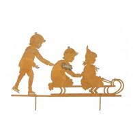 steker kinderen op slee roestkleur breed 60 cm