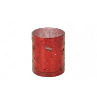 windlicht glas diameter 10 cm rood