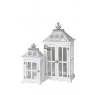 lantaarn hout wit set van 2 stuks hoog 47.5 / 71 cm