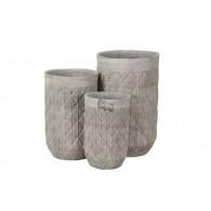 bloembak cement grijs bewerkt set van 3 stuks