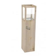 windlicht hout met  glas hoog 100 cm antiek grijs