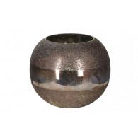 windlicht glas diameter 19 cm grijs goud