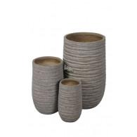 bloembak magnesium bruin/grijs rond hoog set van 3 stuks