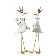 vogel op voet hoog 75 cm metaal 2 assortiment design