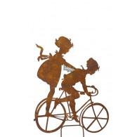 steker kinderen op fiets roestkleur hoog 57 cm